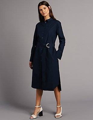 Pure Cotton Long Sleeve Shirt Dress, INK, catlanding