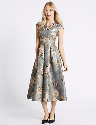 Jacquard Cap Sleeve Prom Midi Dress , GREY, catlanding