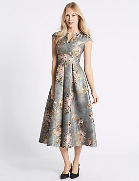 Jacquard Cap Sleeve Prom Midi Dress , GREY, catlanding