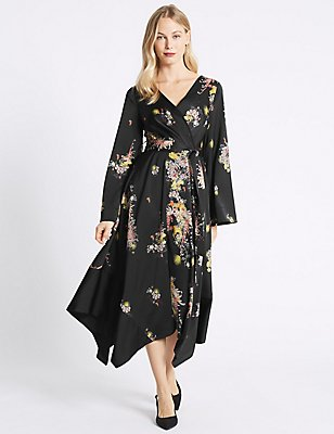 Floral Print Flute Sleeve Wrap Midi Dress , BLACK MIX, catlanding