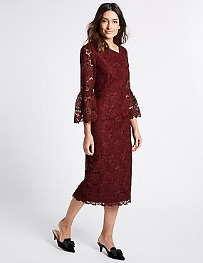 Lace Flute Sleeve Shift Midi Dress, BURGUNDY, catlanding