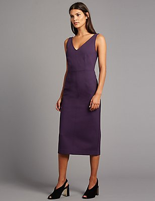 Back Zipped Bodycon Midi Dress, PURPLE, catlanding