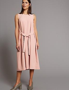 Tie Front Tunic Midi Dress, BLUSH, catlanding