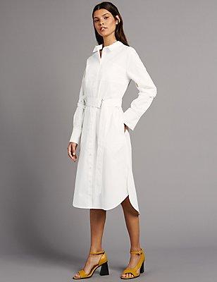 Pure Cotton Shirt Dress with Belt, SOFT WHITE, catlanding