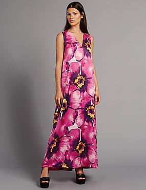 Maxi-jurk met striksluiting op de rug en bloemmotief, PAARS MIX, catlanding