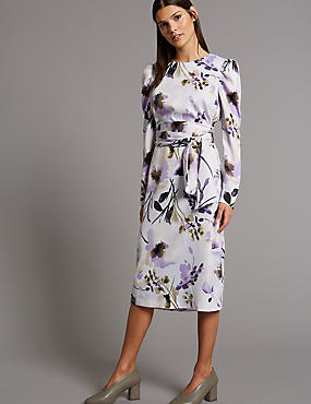 Floral Print Belted Tunic Midi Dress, IVORY MIX, catlanding
