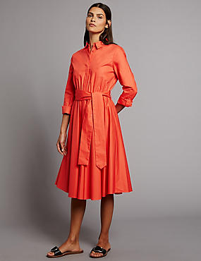 Pure Cotton Flare Shirt Dress with Belt, ORANGE, catlanding
