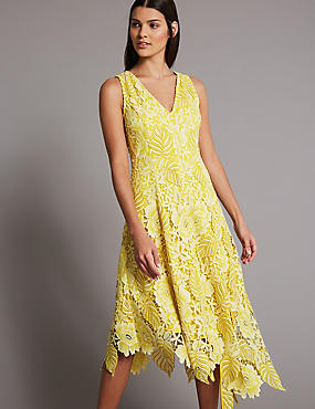 Floral Lace Asymmetric Skater Maxi Dress, LEMON, catlanding