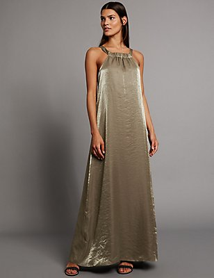 Metallic Halter Neck Sleeveless Shift Dress, GOLD, catlanding