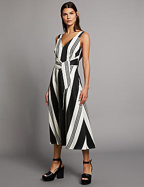 Striped Tie Detail Shift Midi Dress, BLACK MIX, catlanding