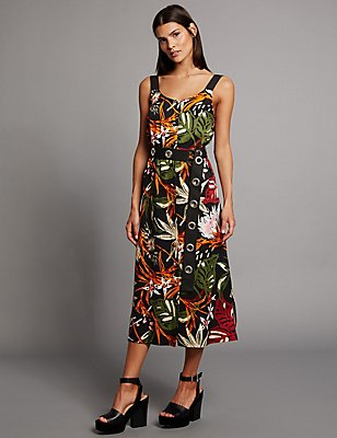 Floral Print Slip Dress, BLACK MIX, catlanding