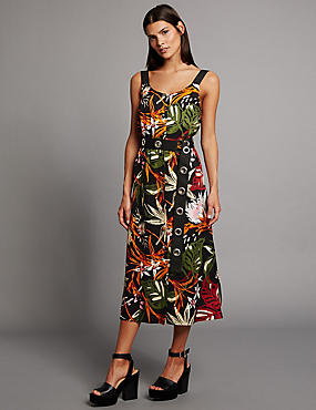Floral Print Tunic Midi Dress with Belt, BLACK MIX, catlanding
