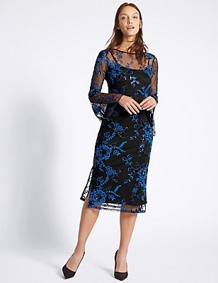 Embroidered Frill Sleeve Tunic Dress, BLUE MIX, catlanding