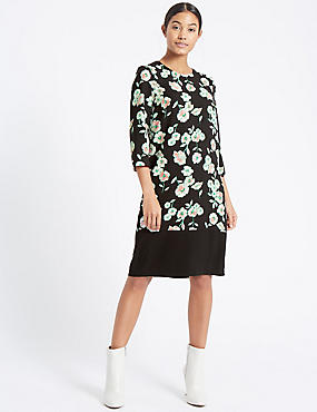 Floral Print ¾ Sleeve Tunic Dress , BLACK MIX, catlanding