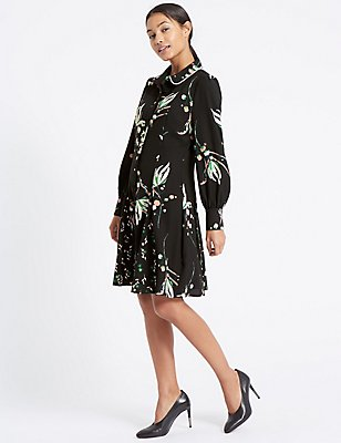 Printed Long Sleeve Shirt Dress, BLACK MIX, catlanding