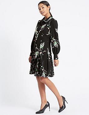Printed Long Sleeve Shirt Dress, BLACK MIX, catlanding