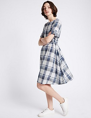 Pure Cotton Checked Swing Dress, BLUE MIX, catlanding