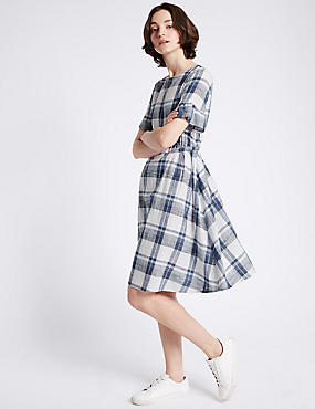 Pure Cotton Ruffle Sleeve Swing Dress, BLUE MIX, catlanding