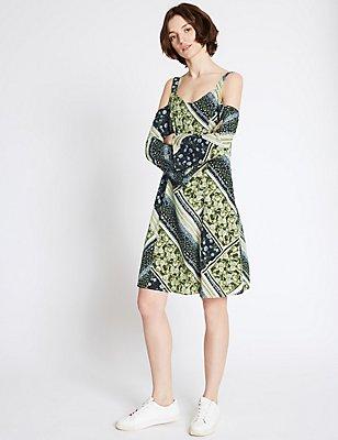 Cold Shoulder Floral Print Skater Dress, GREEN MIX, catlanding