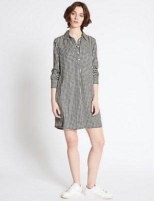 Gingham Long Sleeve Shirt Dress, , catlanding