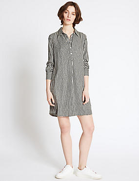 Gingham Long Sleeve Shirt Dress, BLACK MIX, catlanding