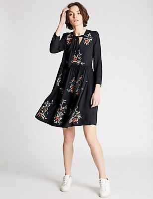 Embroidered Long Sleeve Skater Dress, , catlanding