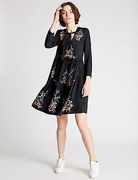 Embroidered Long Sleeve Skater Dress, NAVY MIX, catlanding
