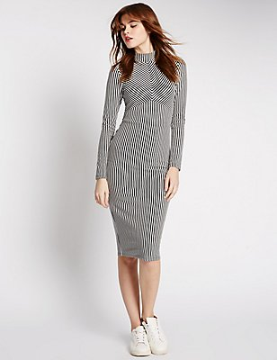 Striped Long Sleeve Bodycon Dress, BLACK MIX, catlanding