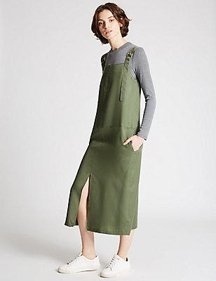 Pinnafore Shift Dress, KHAKI, catlanding