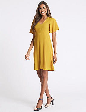 Flutter Sleeve Woven Swing Dress, YELLOW, catlanding