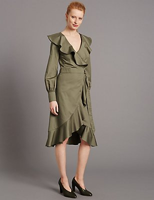 Pure Cotton Tie Front Frill Wrap Dress, KHAKI, catlanding