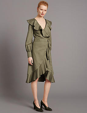 Pure Cotton Tie Front Frill Wrap Midi Dress, KHAKI, catlanding