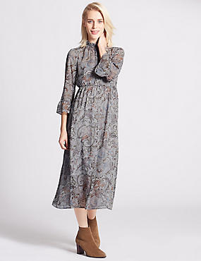 Paisley Print Fit & Flare Dress, GREY MIX, catlanding