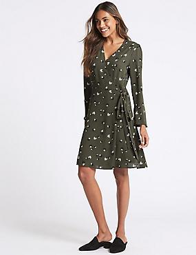 Floral print Long Sleeve Wrap Dress, GREEN MIX, catlanding