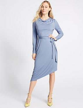 Cowl Drape Long Sleeve Bodycon Midi Dress , BLUE, catlanding