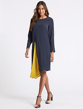 Asymmetric Contrast Pleat Tunic Midi Dress, BLUE MIX, catlanding