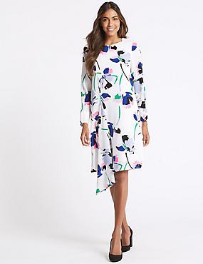 Floral Print Asymmetric Tunic Dress, IVORY MIX, catlanding