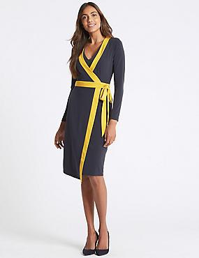 Contrast Trim Long Sleeve Wrap Midi Dress, NAVY MIX, catlanding