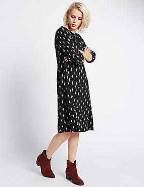 Shift Dress with Buttonsafe™, BLACK MIX, catlanding