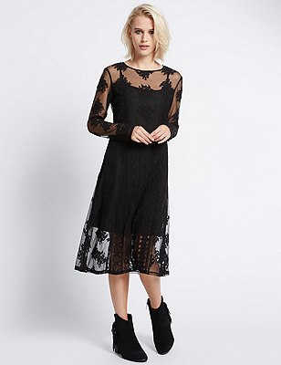 Mesh Lace Shift Dress with Buttonsafe™, BLACK MIX, catlanding