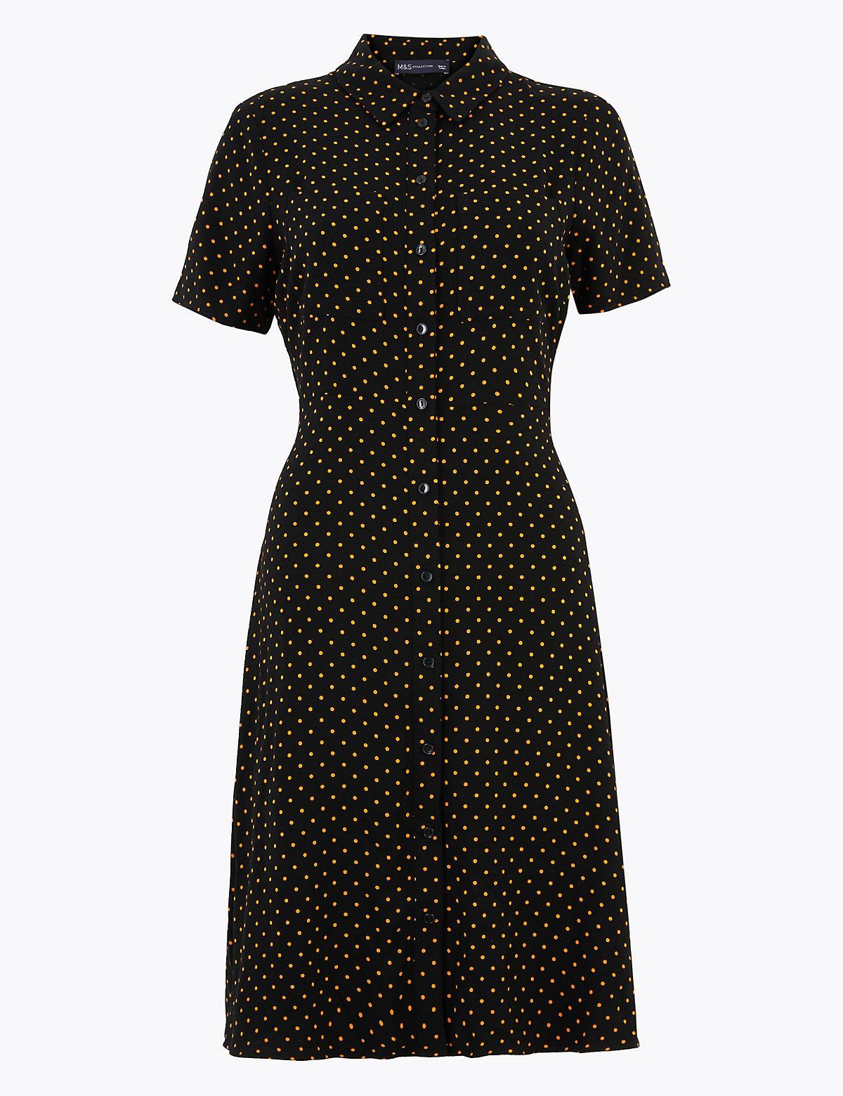 Платье-рубашка мини в горошек