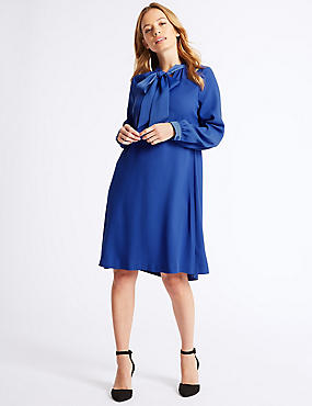 PETITE Tie Neck Long Sleeve Swing Midi Dress, BLUE, catlanding