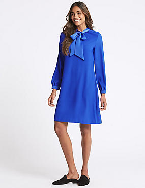 Tie Neck Long Sleeve Swing Dress, BLUE, catlanding