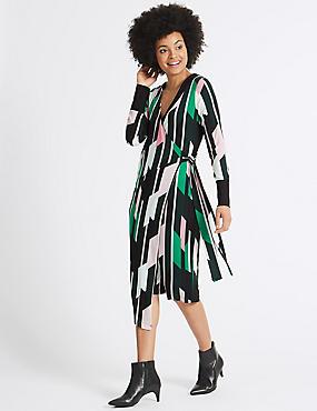 Geometrical Print Long Sleeve Wrap Dress, GREEN MIX, catlanding