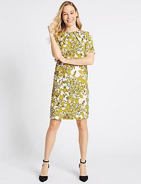 Floral Print Half Sleeve Tunic Dress, YELLOW MIX, catlanding