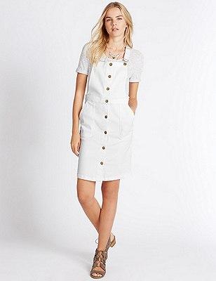 Cotton Rich Dungaree Dress, WHITE MIX, catlanding