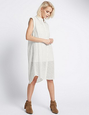 Loose Fit Cutwork Shift Dress with Buttonsafe™, IVORY MIX, catlanding