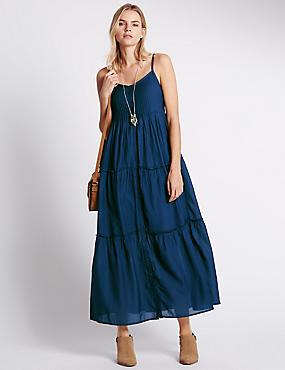 Maxi-jurk met losse pasvorm en laagjes, BLAUW/GROEN, catlanding