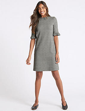 Jacquard Check Frill Sleeve Tunic Dress, GREY MIX, catlanding
