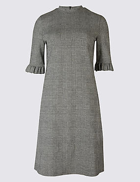 Jacquard Check Frill Sleeve Tunic Dress, GREY MIX, catlanding